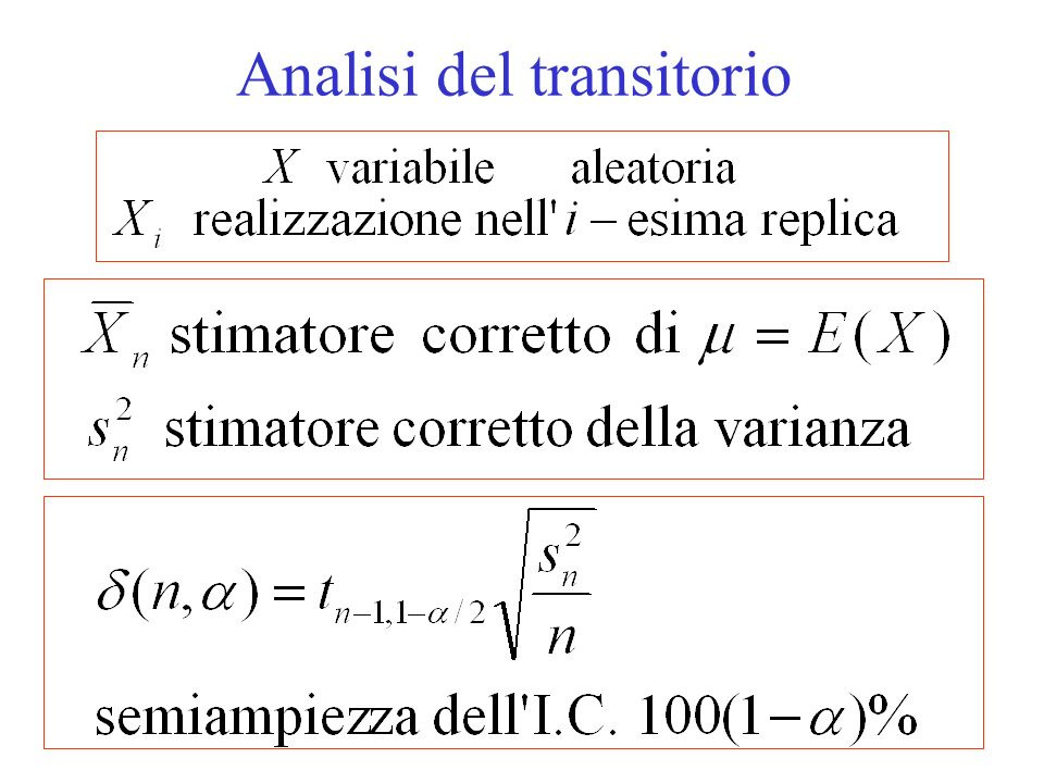 Procedura di Welch Passo 1: si effettuano n repliche di lunghezza m