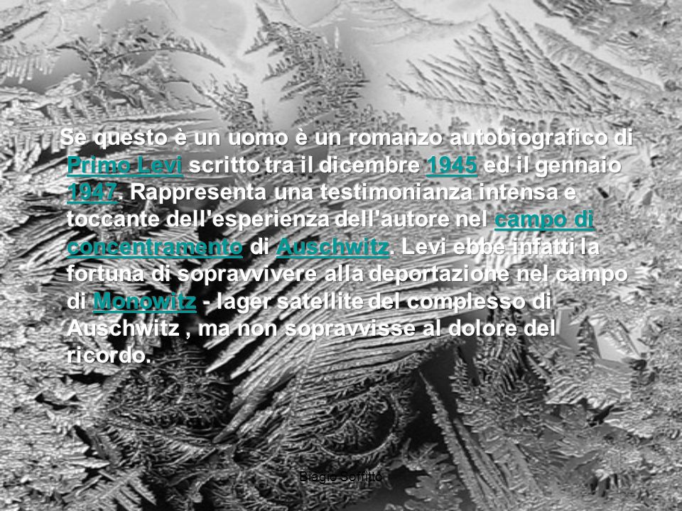 Biagio Soffitto http://www.auschwitz-muzeum.oswiecim.pl/ Vi comando queste parole. Scolpitele nel vostro cuore Stando in casa andando per via, Corican
