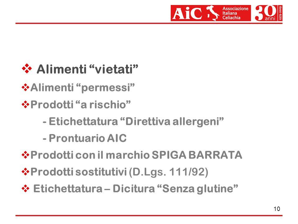 10 Alimenti vietati Alimenti permessi Prodotti a rischio - Etichettatura Direttiva allergeni - Prontuario AIC Prodotti con il marchio SPIGA BARRATA Pr