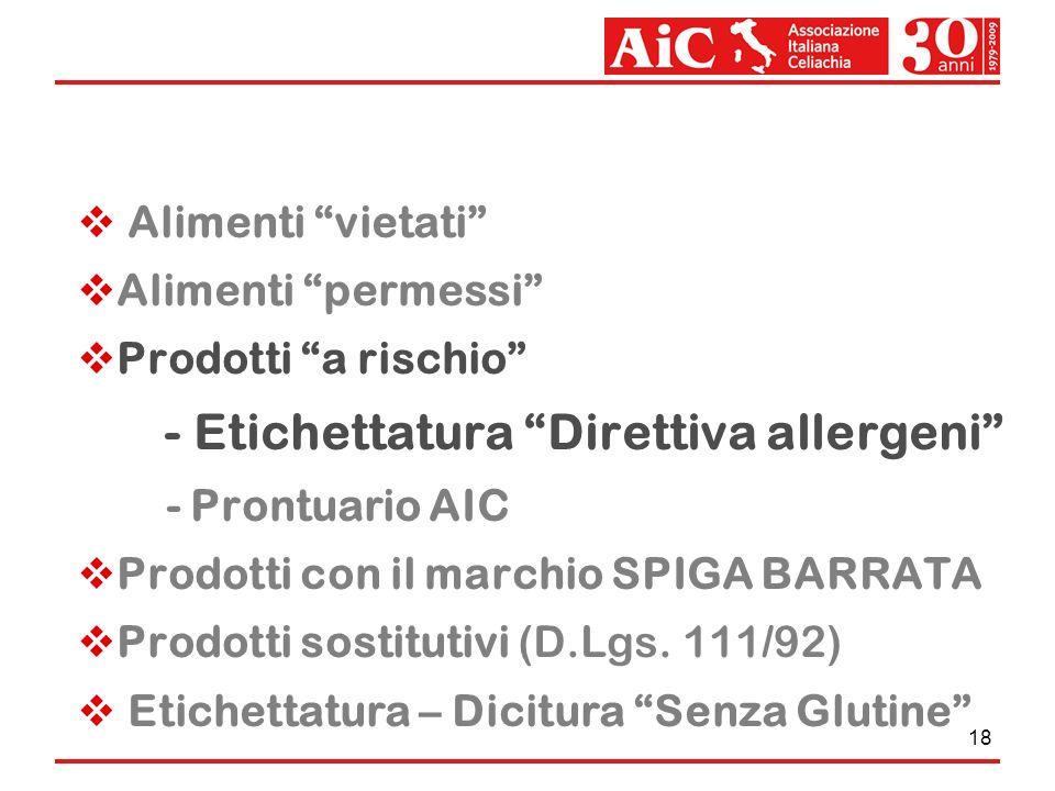 18 Alimenti vietati Alimenti permessi Prodotti a rischio - Etichettatura Direttiva allergeni - Prontuario AIC Prodotti con il marchio SPIGA BARRATA Pr