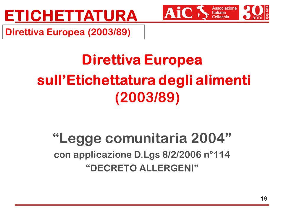 19 ETICHETTATURA Direttiva Europea sullEtichettatura degli alimenti (2003/89) Legge comunitaria 2004 con applicazione D.Lgs 8/2/2006 n°114 DECRETO ALL