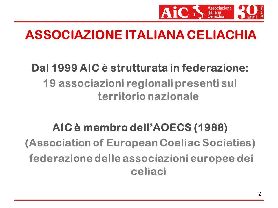 2 ASSOCIAZIONE ITALIANA CELIACHIA Dal 1999 AIC è strutturata in federazione: 19 associazioni regionali presenti sul territorio nazionale AIC è membro