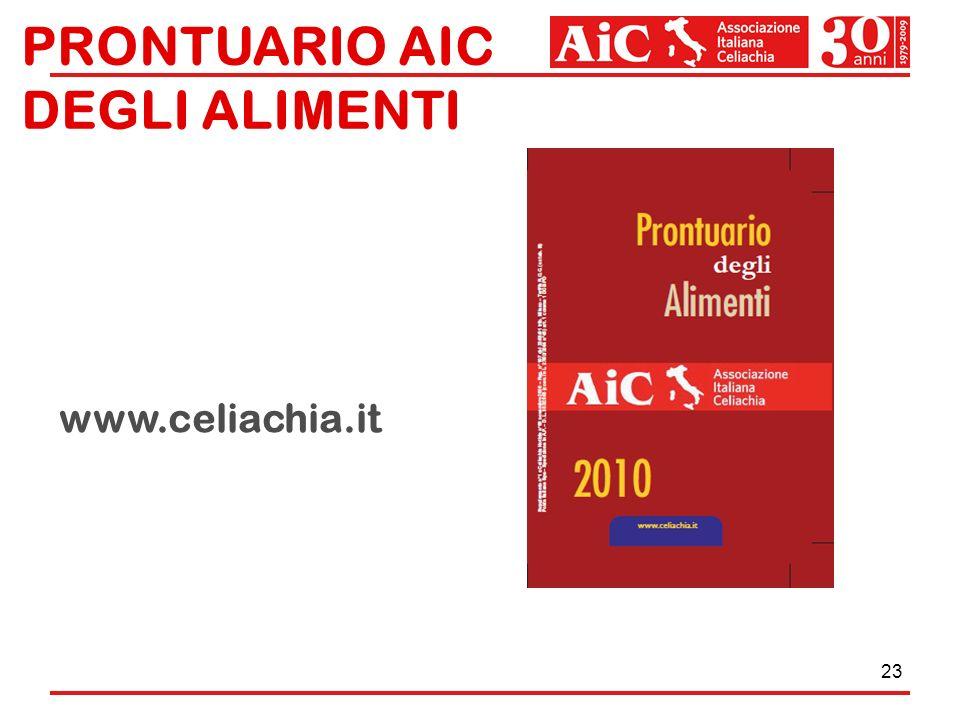 23 PRONTUARIO AIC DEGLI ALIMENTI AGGIORNAMENTI: www.celiachia.it