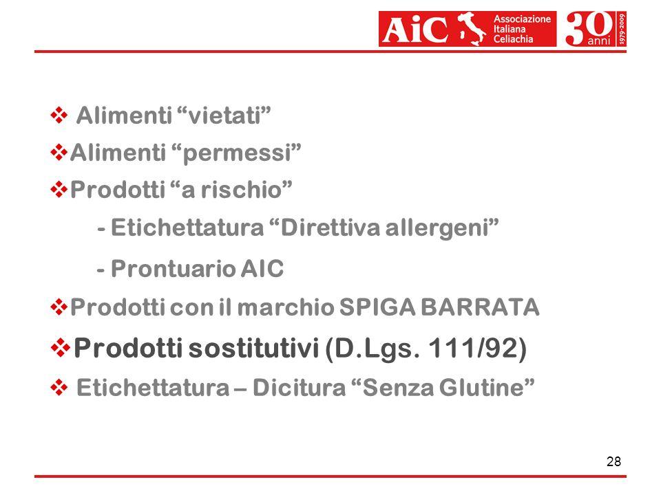28 Alimenti vietati Alimenti permessi Prodotti a rischio - Etichettatura Direttiva allergeni - Prontuario AIC Prodotti con il marchio SPIGA BARRATA Pr