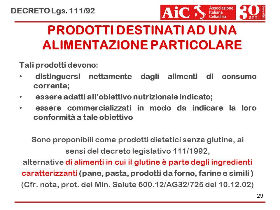 PRODOTTI DESTINATI AD UNA ALIMENTAZIONE PARTICOLARE Tali prodotti devono: distinguersi nettamente dagli alimenti di consumo corrente; essere adatti al