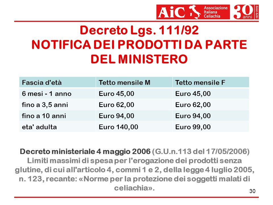 Decreto Lgs. 111/92 NOTIFICA DEI PRODOTTI DA PARTE DEL MINISTERO 30 Fascia d'etàTetto mensile MTetto mensile F 6 mesi - 1 annoEuro 45,00 fino a 3,5 an