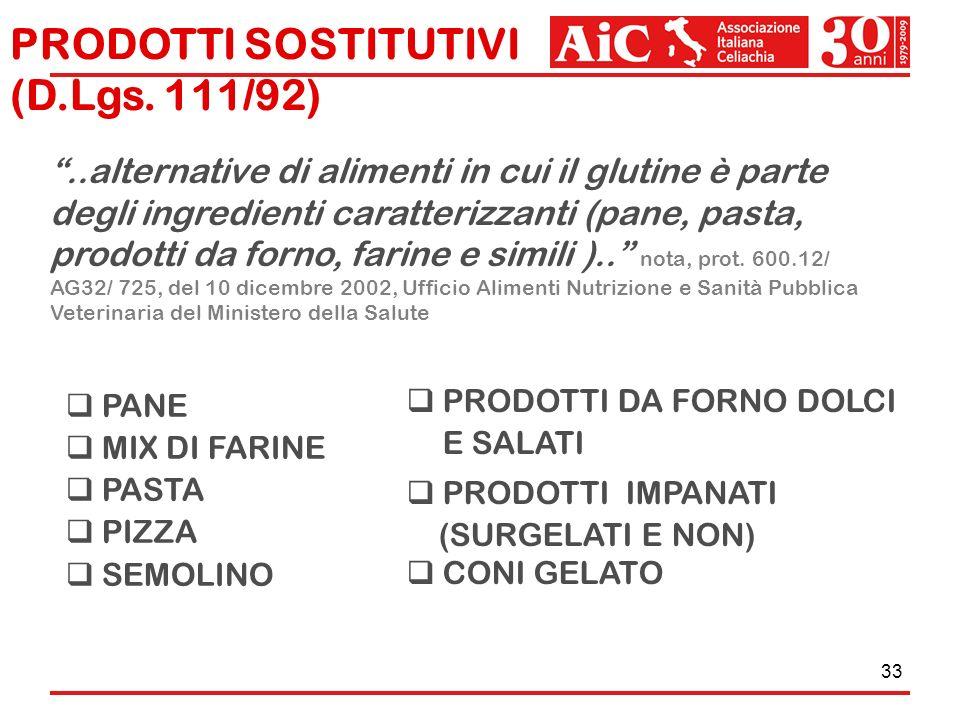 33 PANE MIX DI FARINE PASTA PIZZA SEMOLINO PRODOTTI DA FORNO DOLCI E SALATI PRODOTTI IMPANATI (SURGELATI E NON) CONI GELATO PRODOTTI SOSTITUTIVI (D.Lg