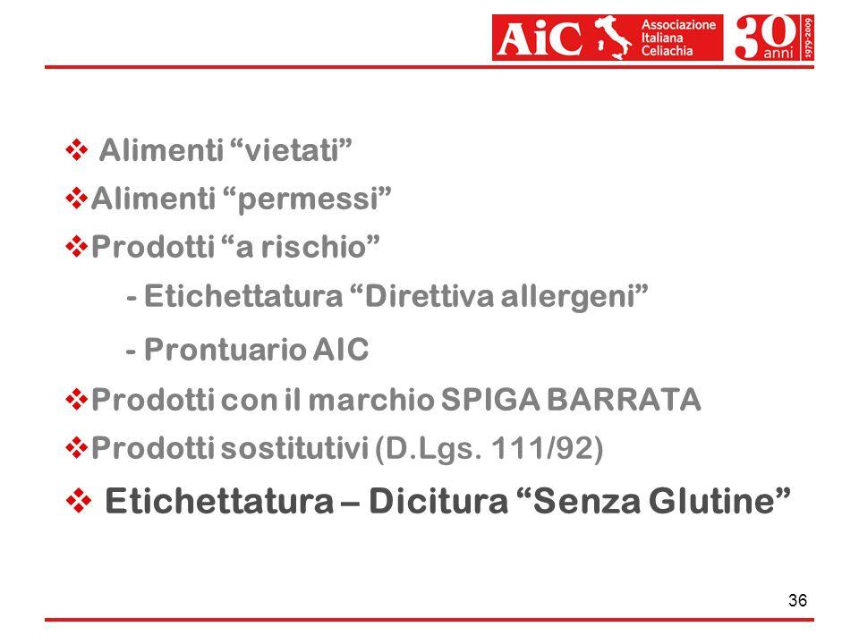 36 Alimenti vietati Alimenti permessi Prodotti a rischio - Etichettatura Direttiva allergeni - Prontuario AIC Prodotti con il marchio SPIGA BARRATA Pr