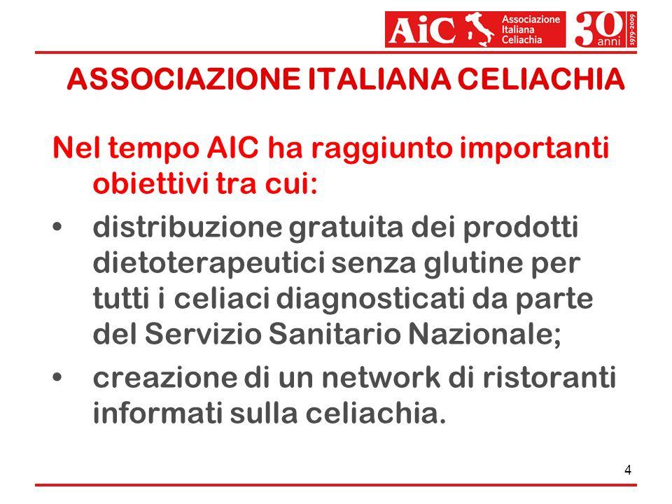 4 Nel tempo AIC ha raggiunto importanti obiettivi tra cui: distribuzione gratuita dei prodotti dietoterapeutici senza glutine per tutti i celiaci diag