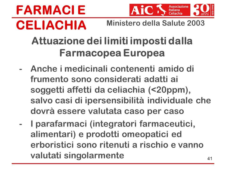 FARMACI E CELIACHIA Ministero della Salute 2003 41 -Anche i medicinali contenenti amido di frumento sono considerati adatti ai soggetti affetti da cel