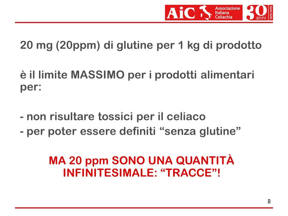 8 20 mg (20ppm) di glutine per 1 kg di prodotto è il limite MASSIMO per i prodotti alimentari per: - non risultare tossici per il celiaco - per poter