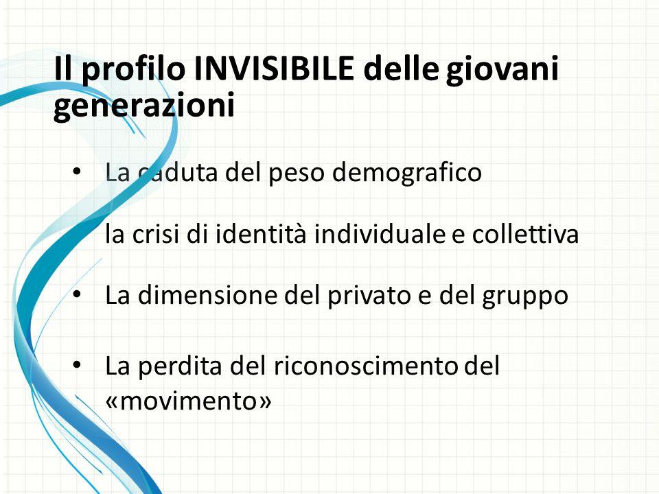 La caduta del peso demografico la crisi di identità individuale e collettiva La dimensione del privato e del gruppo La perdita del riconoscimento del «movimento» Il profilo INVISIBILE delle giovani generazioni