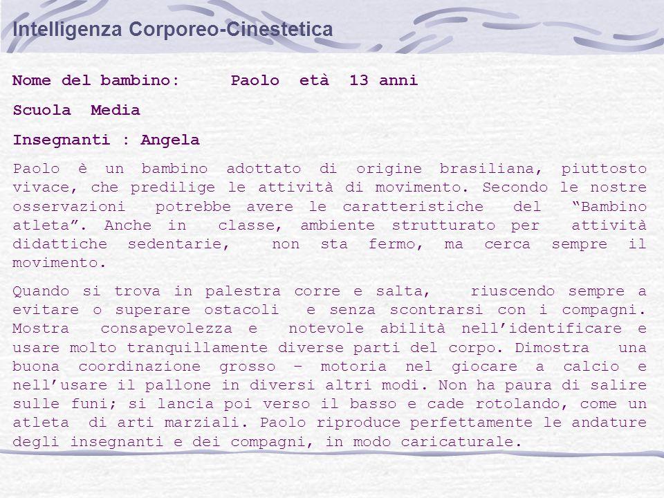 Intelligenza Corporeo-Cinestetica Nome del bambino: Paolo età 13 anni Scuola Media Insegnanti : Angela Paolo è un bambino adottato di origine brasilia