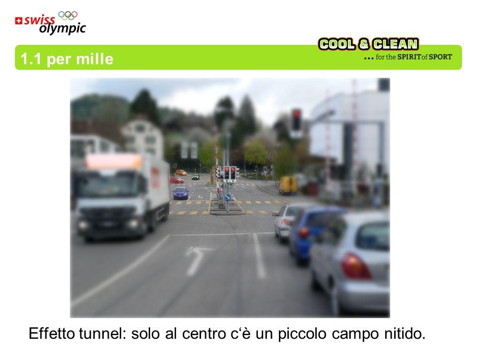 Effetto tunnel: solo al centro cè un piccolo campo nitido. 1.1 per mille
