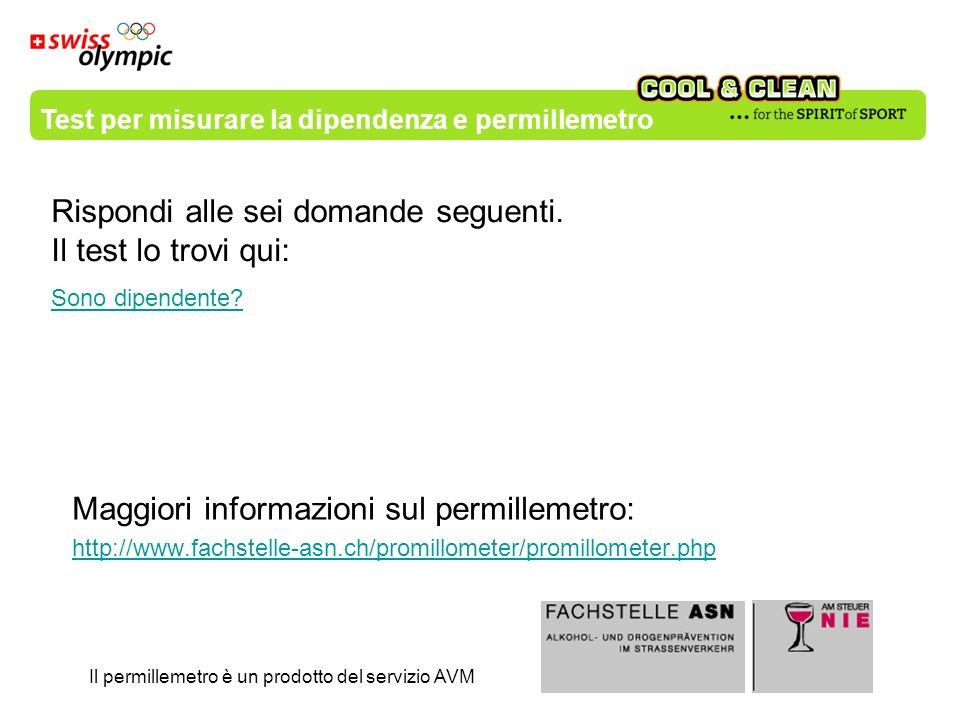Maggiori informazioni sul permillemetro: http://www.fachstelle-asn.ch/promillometer/promillometer.php Il permillemetro è un prodotto del servizio AVM