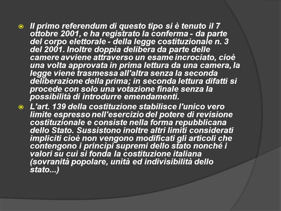 Il primo referendum di questo tipo si è tenuto il 7 ottobre 2001, e ha registrato la conferma - da parte del corpo elettorale - della legge costituzio