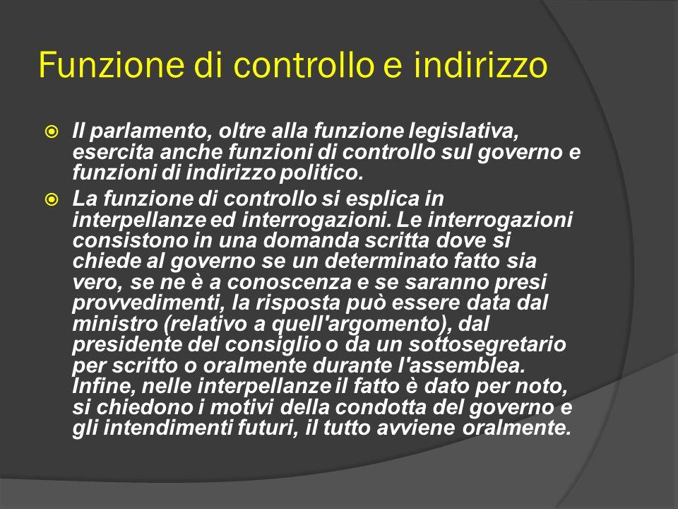 Funzione di controllo e indirizzo Il parlamento, oltre alla funzione legislativa, esercita anche funzioni di controllo sul governo e funzioni di indir