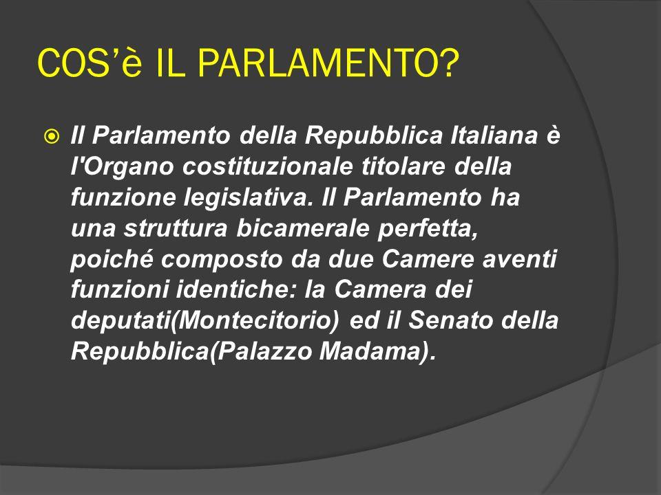 COSè IL PARLAMENTO? Il Parlamento della Repubblica Italiana è l'Organo costituzionale titolare della funzione legislativa. Il Parlamento ha una strutt