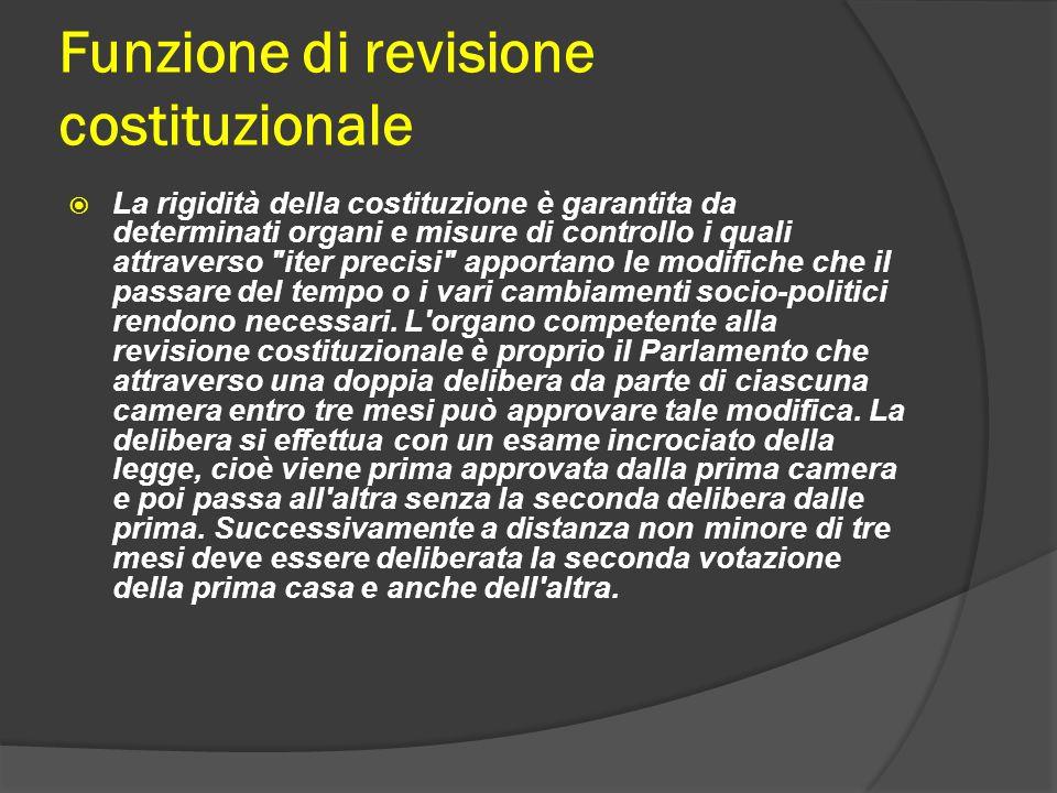 Funzione di revisione costituzionale La rigidità della costituzione è garantita da determinati organi e misure di controllo i quali attraverso