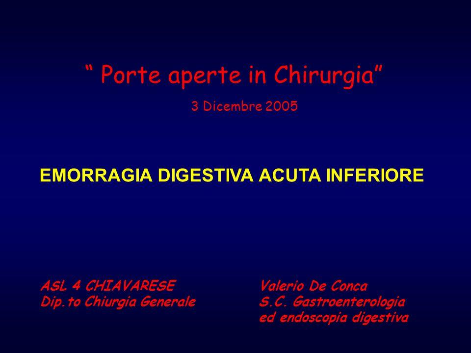 EMORRAGIA DIGESTIVA ACUTA INFERIORE Porte aperte in Chirurgia 3 Dicembre 2005 ASL 4 CHIAVARESE Dip.to Chiurgia Generale Valerio De Conca S.C. Gastroen