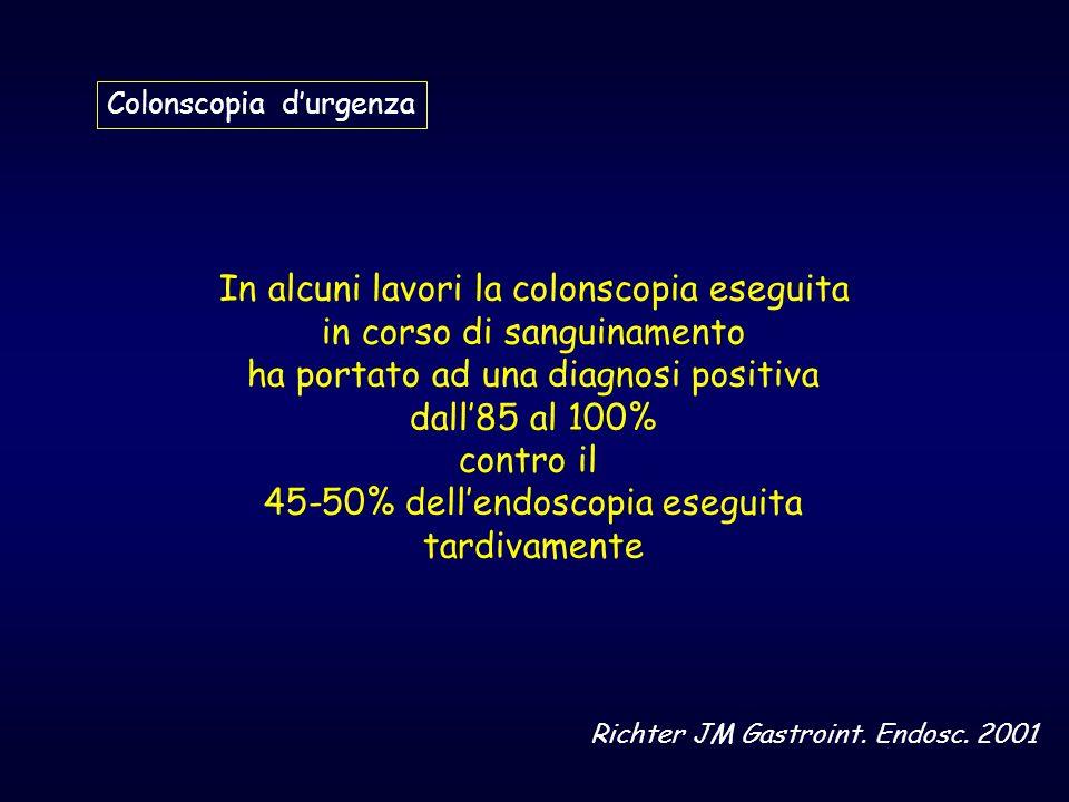 COLONSCOPIA SENZA PREPARAZIONE Entro 24-48 ore in UTI con ass.anestesiologica COLON ( 91%) % Diverticoli 20 Colite ischemica 21 IBD-Pseudomemb 9 Emorroidi 14 Angiodisplasie 11 Cancro/Polipi 8 Post:polipectomia 4 Varici rettali Ulcera solitaria retto 4 Corpo estraneo TENUE ( 9%) Crohn Meckel Rendu-Osler Altre Ignota Ann Surg.