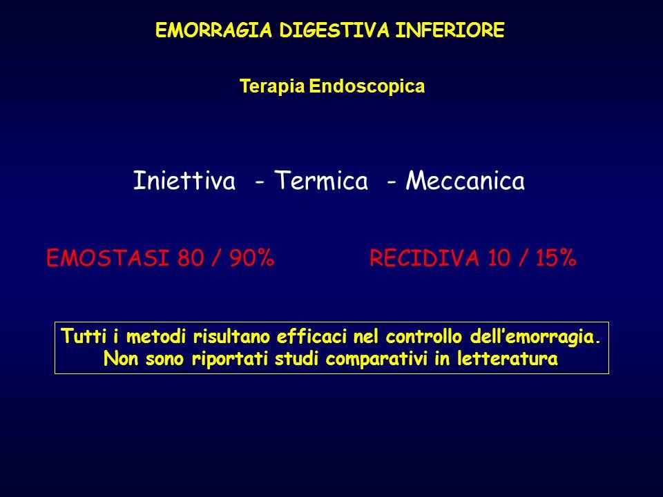 EMORRAGIA DIGESTIVA INFERIORE Terapia Endoscopica Iniettiva - Termica - Meccanica EMOSTASI 80 / 90%RECIDIVA 10 / 15% Tutti i metodi risultano efficaci