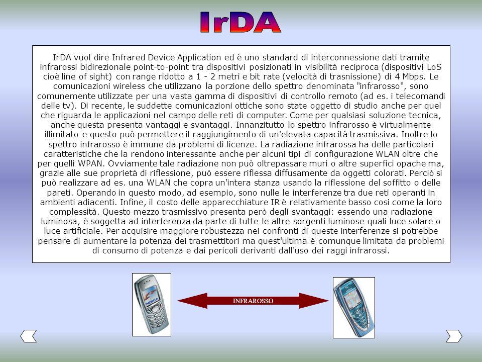 IrDA vuol dire Infrared Device Application ed è uno standard di interconnessione dati tramite infrarossi bidirezionale point-to-point tra dispositivi