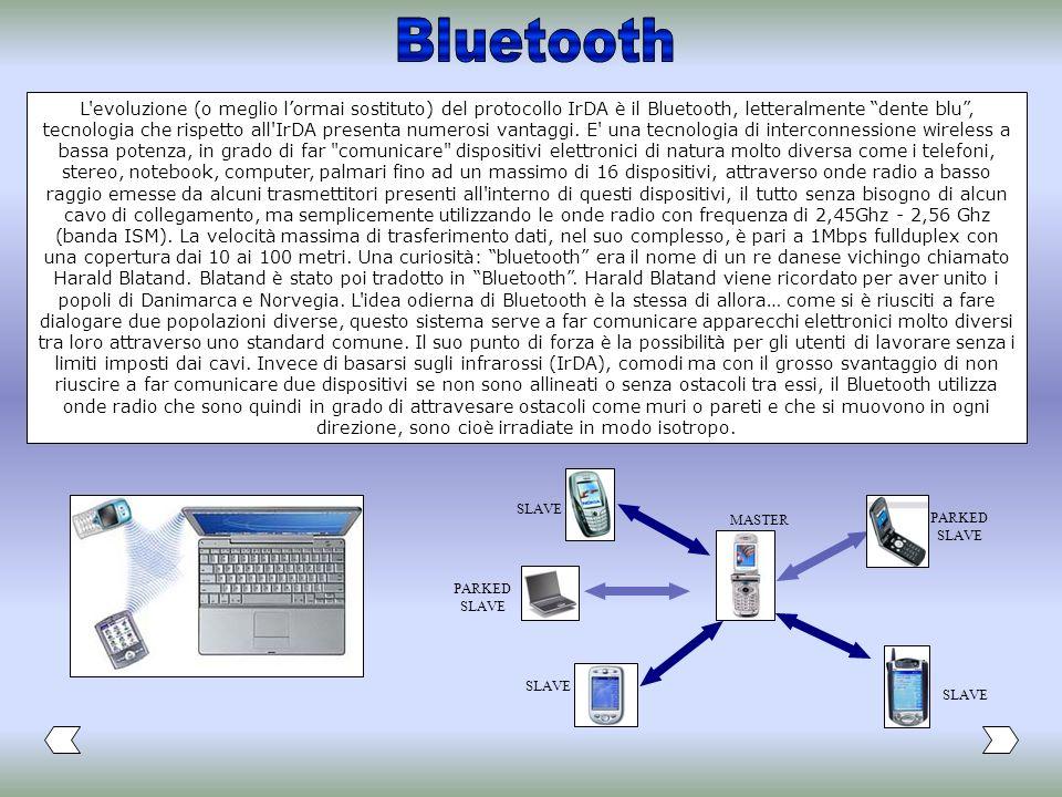 L'evoluzione (o meglio lormai sostituto) del protocollo IrDA è il Bluetooth, letteralmente dente blu, tecnologia che rispetto all'IrDA presenta numero