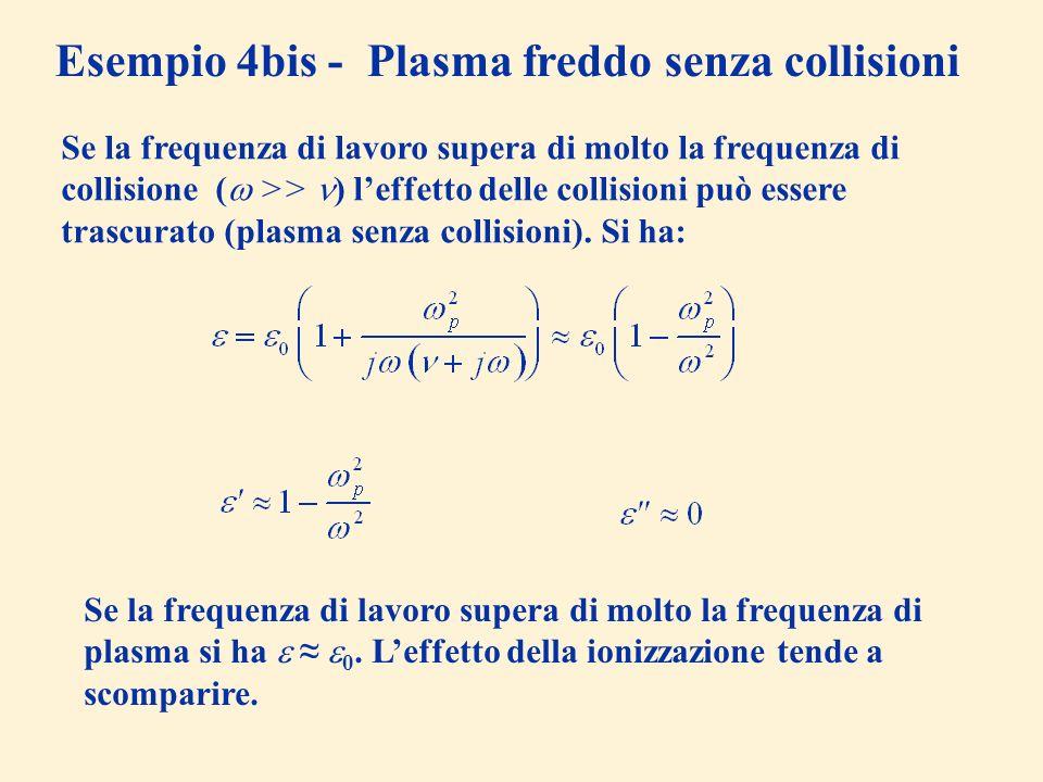 Esempio 4bis - Plasma freddo senza collisioni Se la frequenza di lavoro supera di molto la frequenza di collisione ( >> ) leffetto delle collisioni pu
