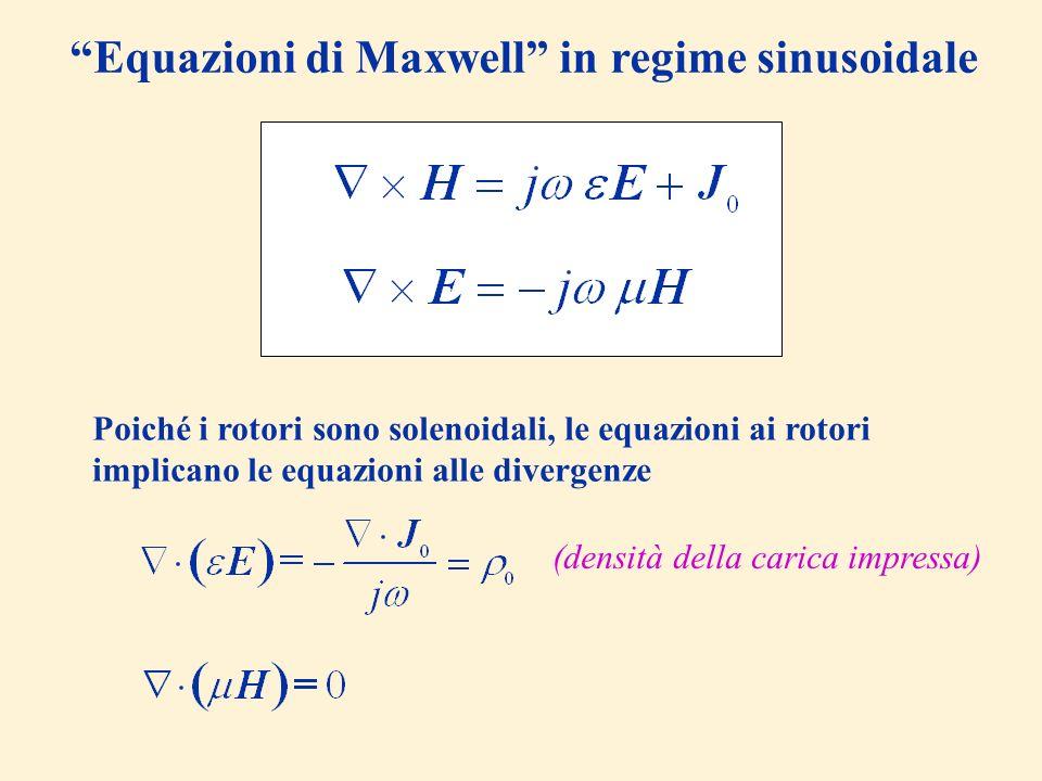 Equazioni di Maxwell in regime sinusoidale Poiché i rotori sono solenoidali, le equazioni ai rotori implicano le equazioni alle divergenze (densità de