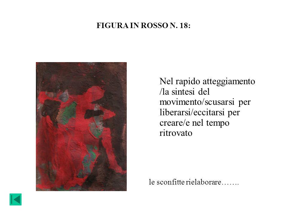 FIGURA IN ROSSO N. 18: Nel rapido atteggiamento /la sintesi del movimento/scusarsi per liberarsi/eccitarsi per creare/e nel tempo ritrovato le sconfit