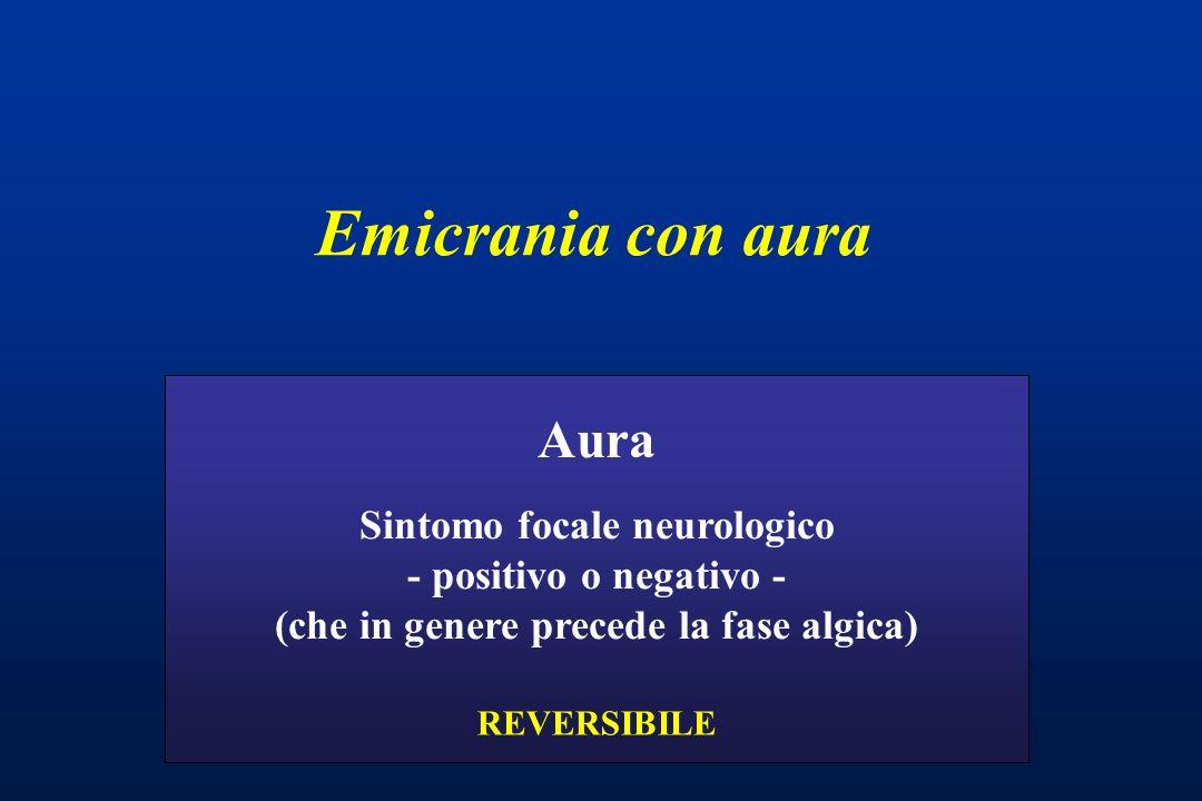 Emicrania con aura Sintomo focale neurologico - positivo o negativo - (che in genere precede la fase algica) Aura REVERSIBILE