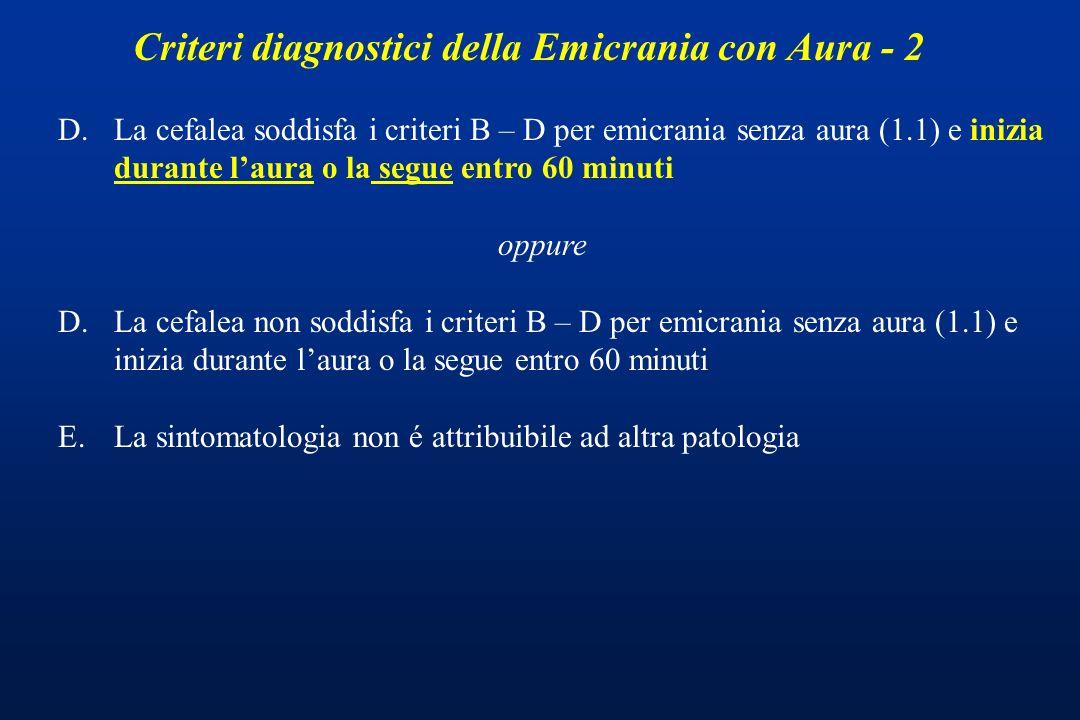 Criteri diagnostici della Emicrania con Aura - 2 D.La cefalea soddisfa i criteri B – D per emicrania senza aura (1.1) e inizia durante laura o la segu