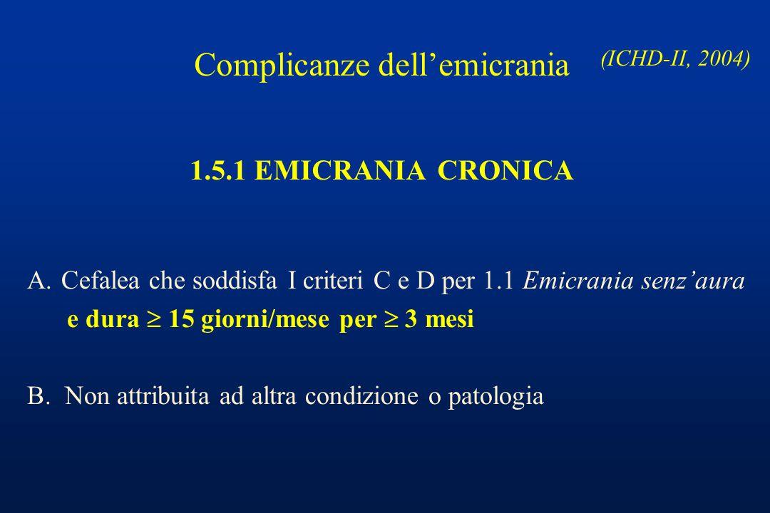 1.5.1 EMICRANIA CRONICA A.Cefalea che soddisfa I criteri C e D per 1.1 Emicrania senzaura e dura 15 giorni/mese per 3 mesi B. Non attribuita ad altra