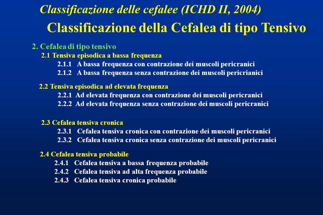 Classificazione delle cefalee (ICHD II, 2004) 2. Cefalea di tipo tensivo 2.1 2.1 Tensiva episodica a bassa frequenza 2.1.1 A bassa frequenza con contr
