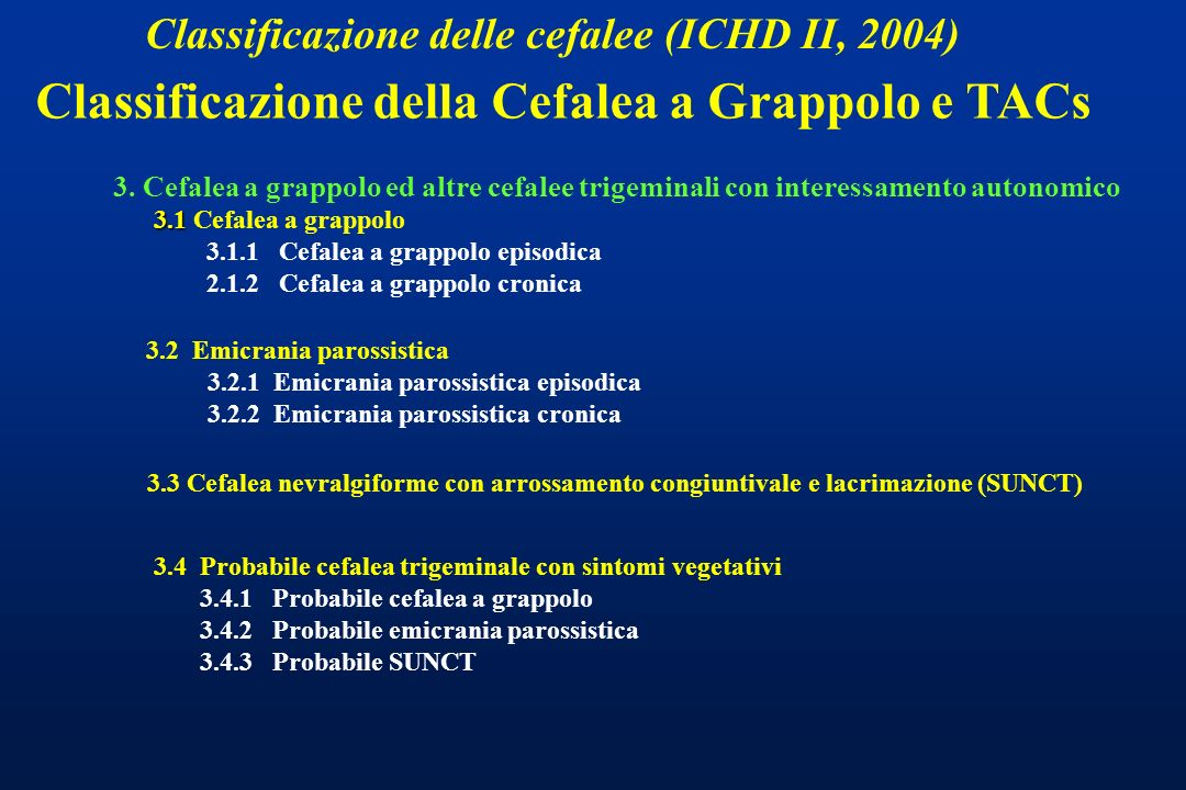 Classificazione delle cefalee (ICHD II, 2004) 3. Cefalea a grappolo ed altre cefalee trigeminali con interessamento autonomico 3.1 3.1 Cefalea a grapp