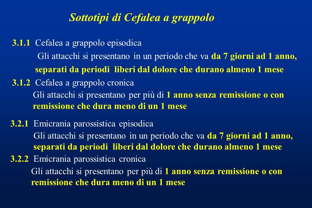Sottotipi di Cefalea a grappolo 3.1.1 Cefalea a grappolo episodica Gli attacchi si presentano in un periodo che va da 7 giorni ad 1 anno, separati da