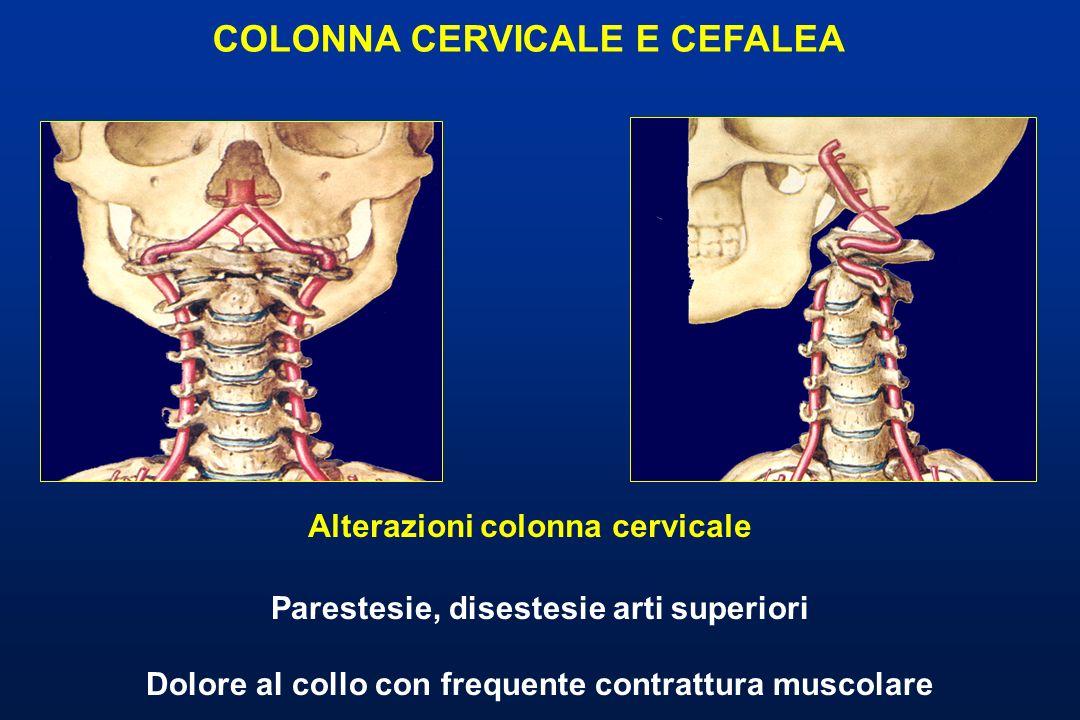 Parestesie, disestesie arti superiori Dolore al collo con frequente contrattura muscolare Alterazioni colonna cervicale COLONNA CERVICALE E CEFALEA