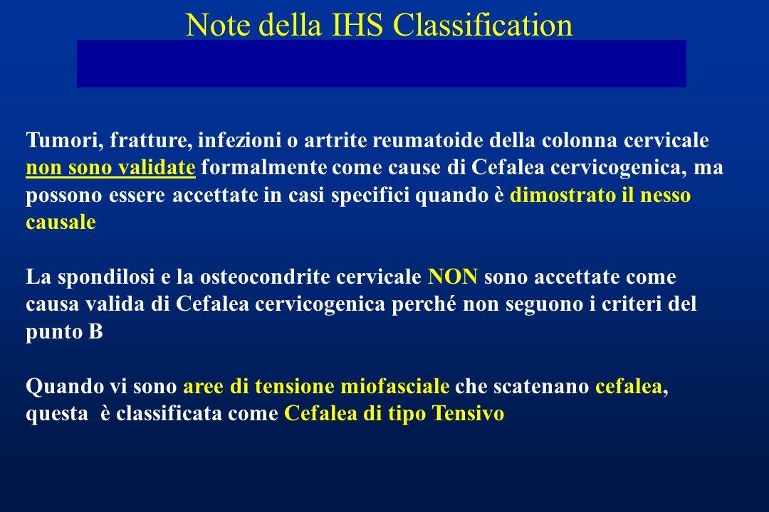 Tumori, fratture, infezioni o artrite reumatoide della colonna cervicale non sono validate formalmente come cause di Cefalea cervicogenica, ma possono