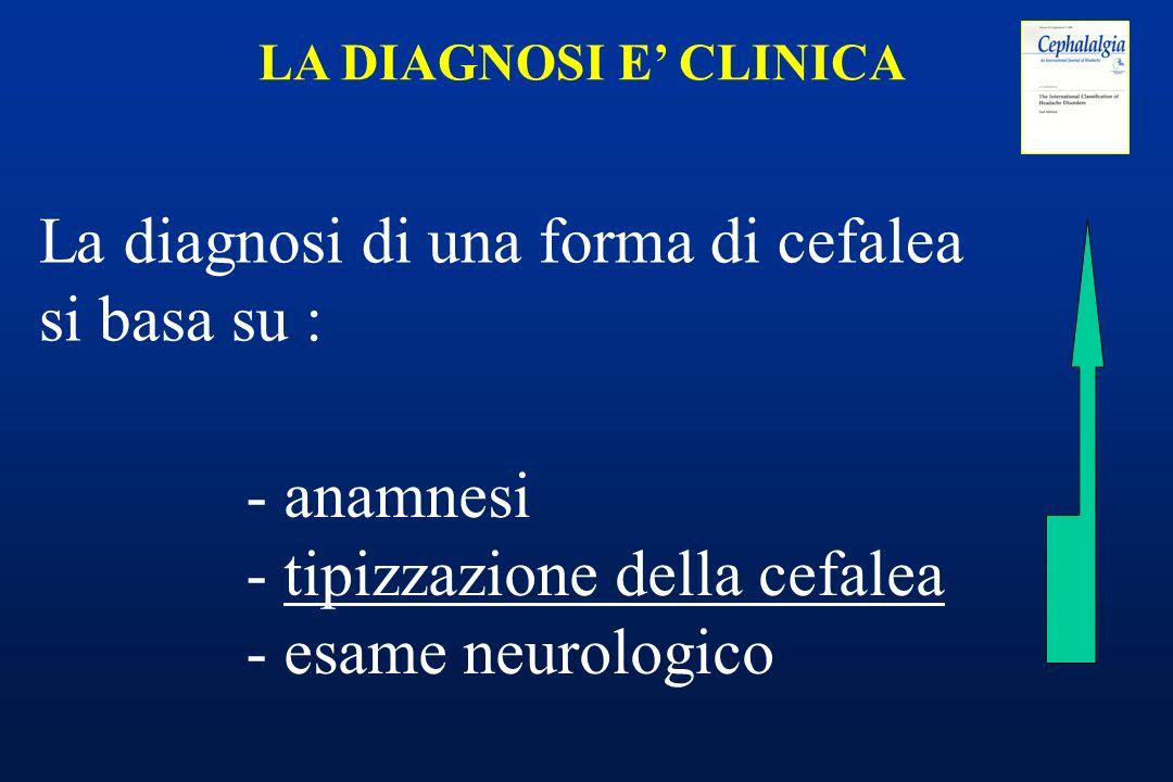 - anamnesi - tipizzazione della cefalea - esame neurologico LA DIAGNOSI E CLINICA La diagnosi di una forma di cefalea si basa su :