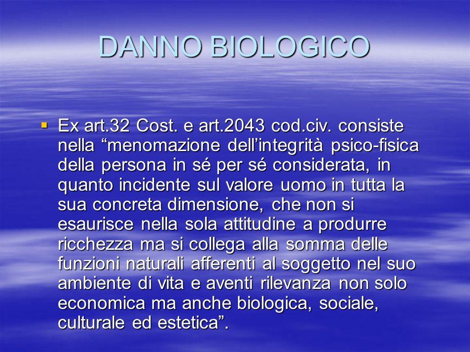 DANNO BIOLOGICO Ex art.32 Cost.e art.2043 cod.civ.