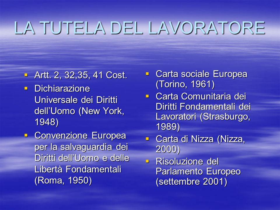 LA TUTELA DEL LAVORATORE Artt.2, 32,35, 41 Cost. Artt.