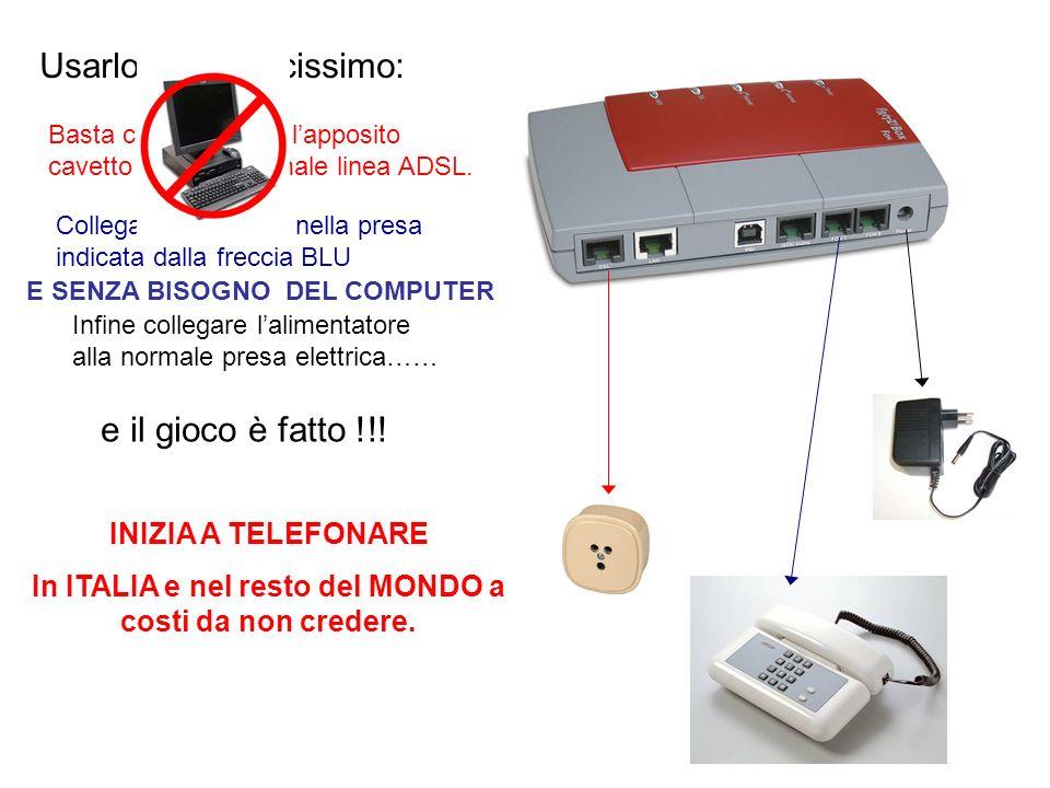 Usarlo è semplicissimo: Basta collegarlo con lapposito cavetto ad una normale linea ADSL. Collegare il telefono nella presa indicata dalla freccia BLU