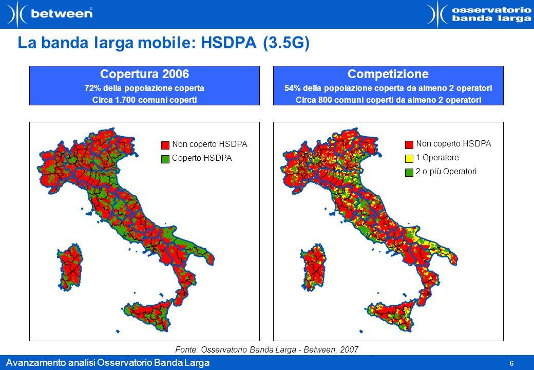 6 Avanzamento analisi Osservatorio Banda Larga La banda larga mobile: HSDPA (3.5G) Copertura 2006 72% della popolazione coperta Circa 1.700 comuni cop