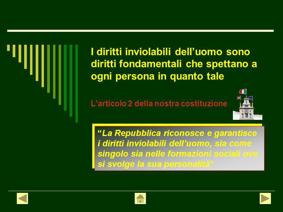 Sommario I DIRITTI INVIOLABILI Principio di uguaglianza Diritto di libertà in senso formale in senso sostanziale personale di riunione e associazione