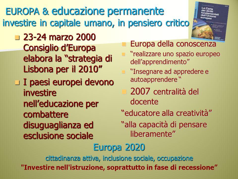 EUROPA & educazione permanente investire in capitale umano, in pensiero critico EUROPA & educazione permanente investire in capitale umano, in pensier