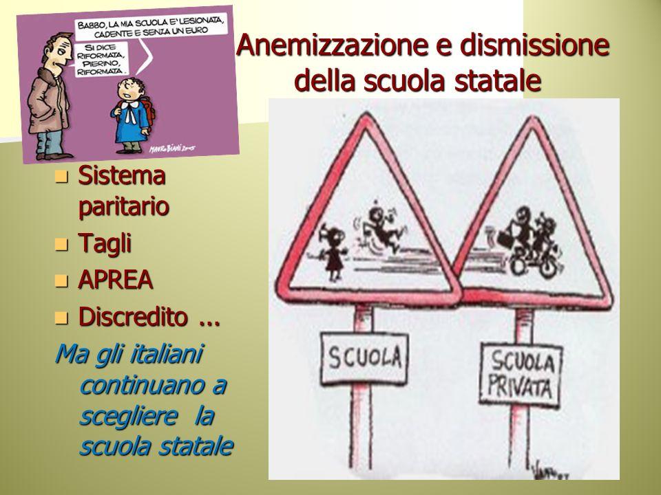 Anemizzazione e dismissione della scuola statale Anemizzazione e dismissione della scuola statale Sistema paritario Sistema paritario Tagli Tagli APRE