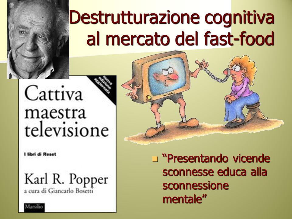 Destrutturazione cognitiva al mercato del fast-food Presentando vicende sconnesse educa alla sconnessione mentale Presentando vicende sconnesse educa