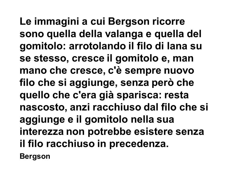 Le immagini a cui Bergson ricorre sono quella della valanga e quella del gomitolo: arrotolando il filo di lana su se stesso, cresce il gomitolo e, man