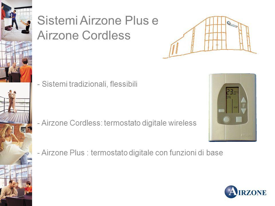 Sistemi Airzone Plus e Airzone Cordless - Sistemi tradizionali, flessibili - Airzone Cordless: termostato digitale wireless - Airzone Plus : termostato digitale con funzioni di base